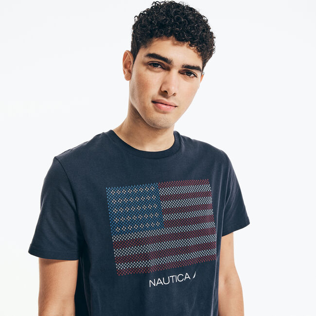 USA FLAG GRAPHIC T-SHIRT,Navy,large