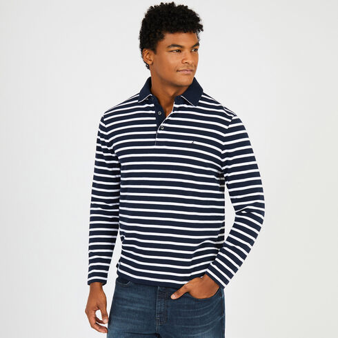 Sailor Stripe Long Sleeve Classic Fit Polo - Navy