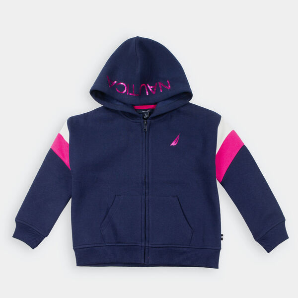 TODDLER GIRLS' LOGO FLEECE FULL-ZIP HOODIE (2T-4T) - Navy