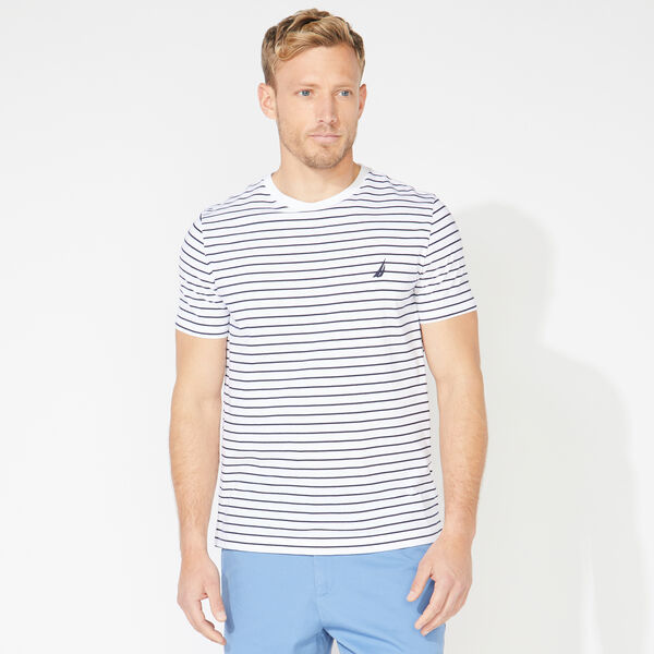 STRIPED COTTON TEE - Bright White
