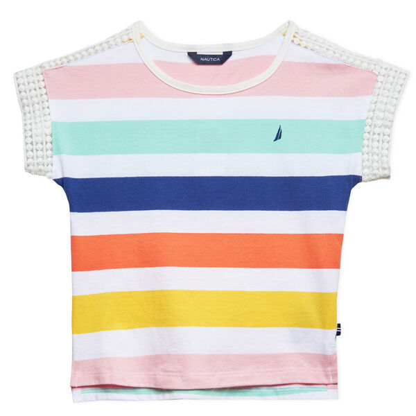 GIRLS' STRIPE JERSEY POM POM TRIM TOP (8-20) - Zinfandel