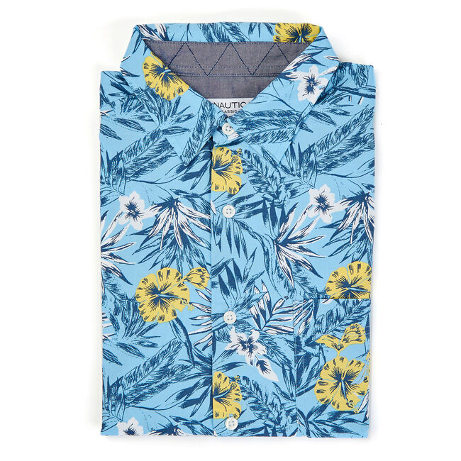 LONG SLEEVE CLASSIC FIT SHIRT IN BLUE FLORAL ,Alaskan Blue,large