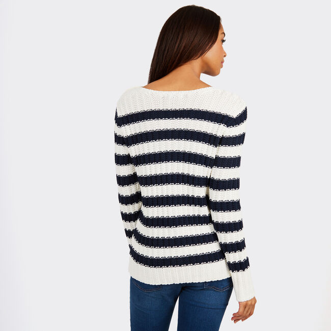 Striped Long Sleeve Cable Knit Sweater,Marshmallow,large