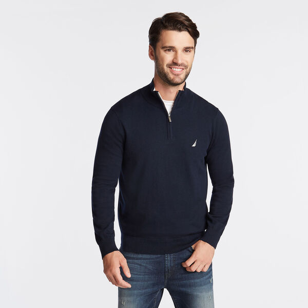 BIG & TALL NAVTECH QUARTER-ZIP SWEATER - Navy