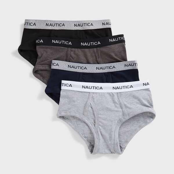 BOYS' CLASSIC BRIEFS, 4-PACK - Grey Heather