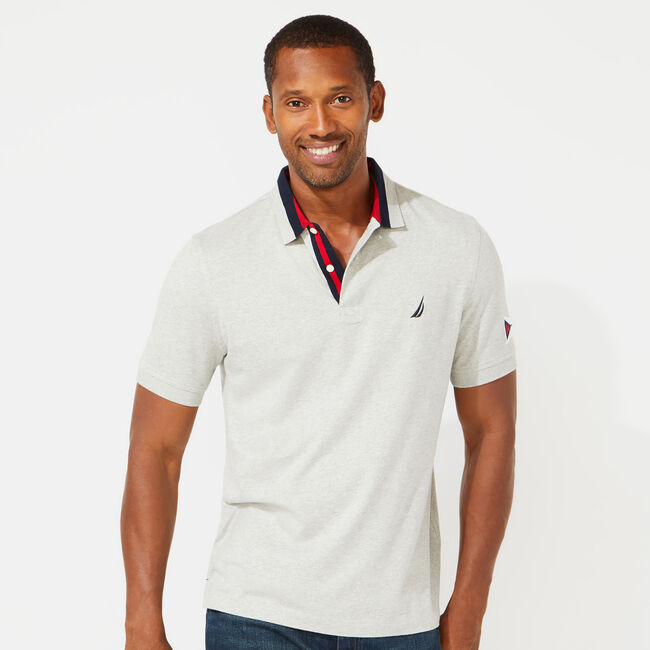 CLASSIC FIT SOLID POLO,Grey Heather,large
