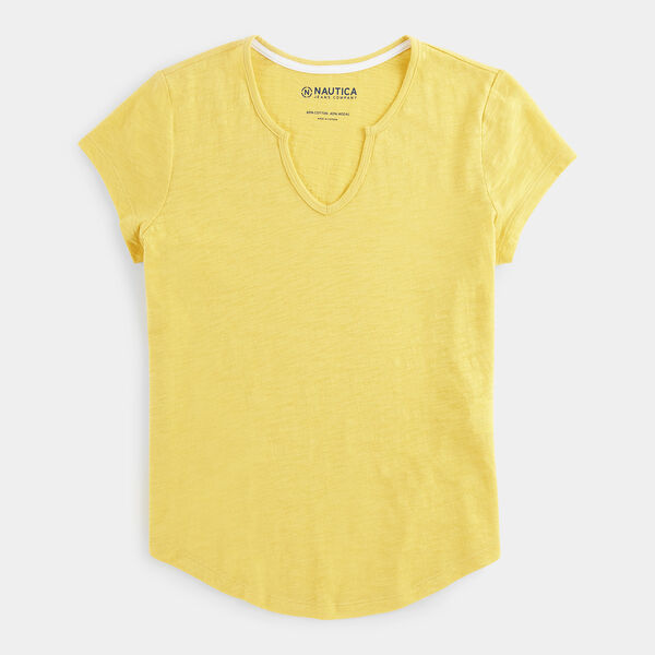 NAUTICA JEANS CO. SPLIT NECK SLUB TOP - Mustard Field