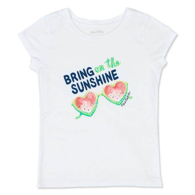 Toddler Girls' Watermelon Glasses Tee (2T-4T),White,large