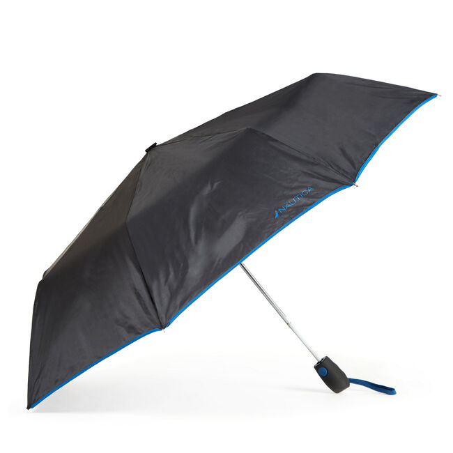 Black Compact Umbrella with Blue Trim,True Black,large