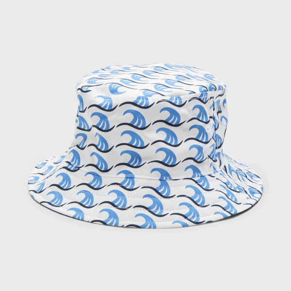 REVERSIBLE WAVE PRINTED BUCKET HAT - Bright White