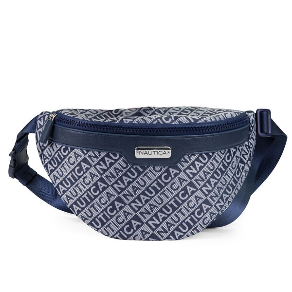 WOVEN JACQUARD BELT BAG - Navy