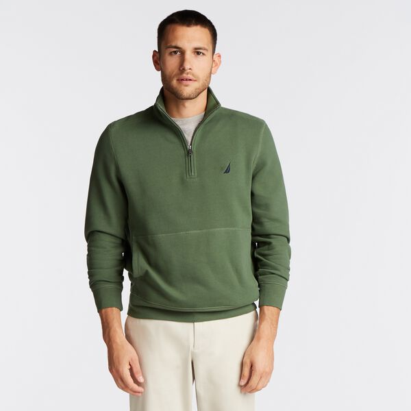 BIG & TALL QUARTER ZIP FLEECE PULLOVER - Green Glow
