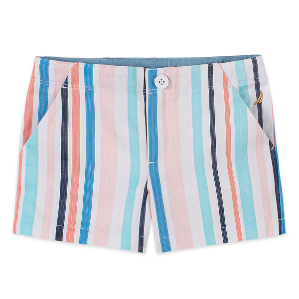 LITTLE GIRLS' MULTICOLOR STRIPED TWILL SHORT (4-7) - Antique White Wash