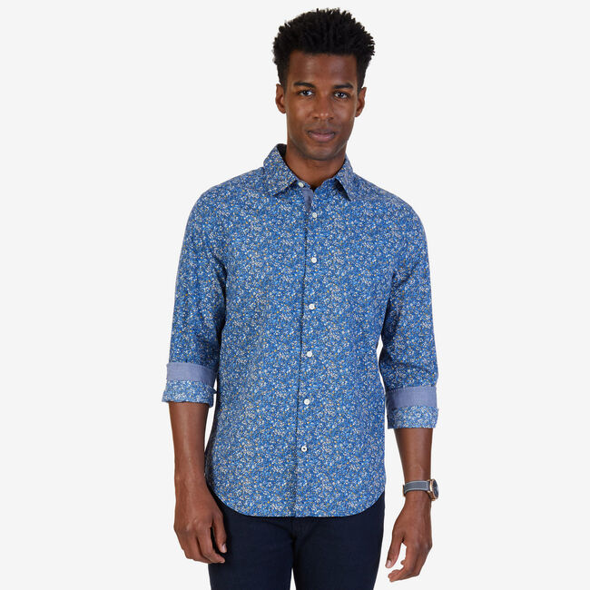 Slim Fit Floral Poplin Button Down,Riviera Blue,large