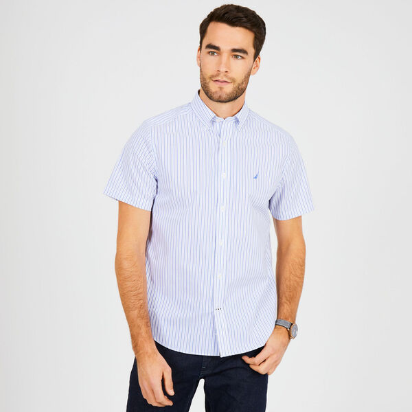 Short Sleeve Wrinkle-Resistant Striped Classic Fit Shirt - Bright White