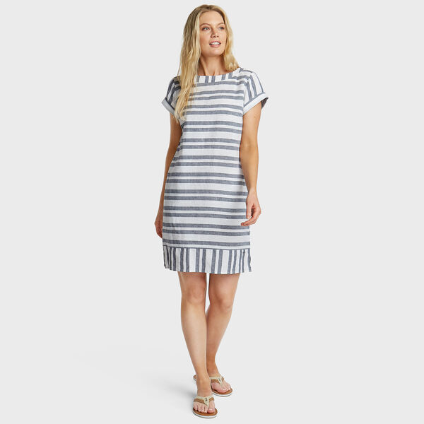 Short Sleeve Linen Blend Shift Dress in Stripe - Bright White