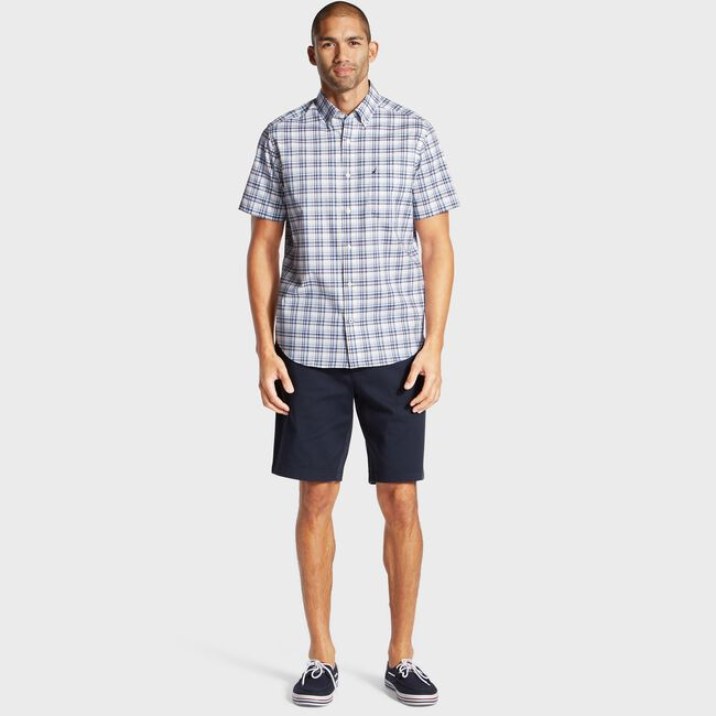 Wrinkle-Resistant Short Sleeve Poplin Shirt in Plaid,Blue Depths,large