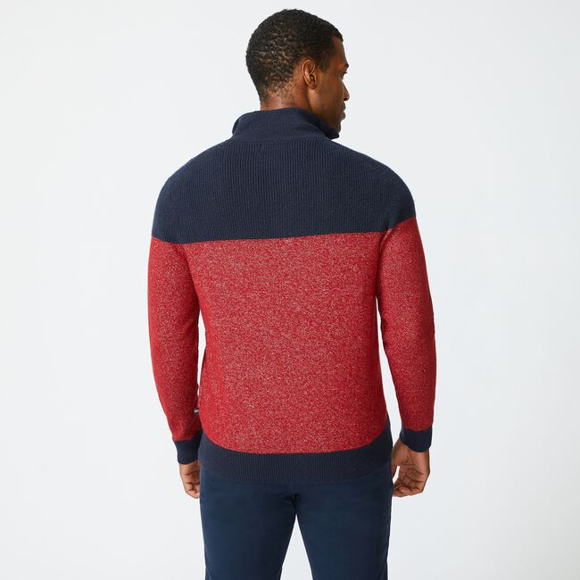 SUSTAINABLY CRAFTED COLORBLOCK SWEATER,Lotus,large