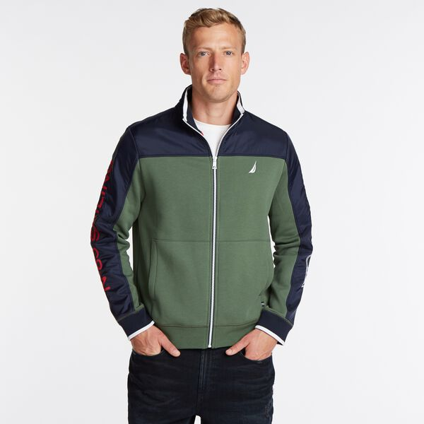 COLORBLOCK FLEECE TRACK JACKET - Pineforest