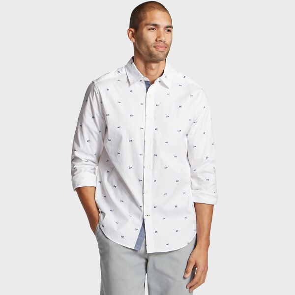 Classic Fit Oxford Shirt in Nautical Icon Print - Bright White