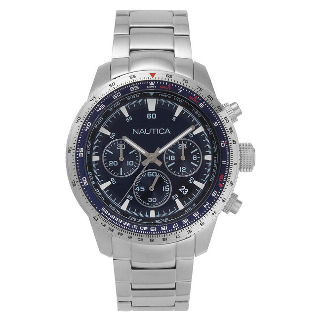 Pier 39 Chronograph Watch with Metal Bracelet,Multi,large
