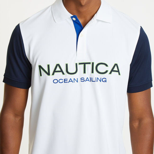 Classic Fit Ocean Sailing Tech Polo,Bright White,large