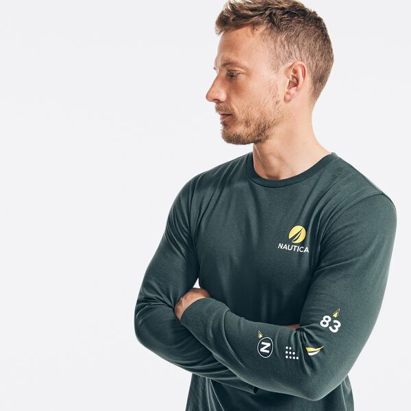 SUSTAINABLY CRAFTED GRAPHIC LONG SLEEVE T-SHIRT - Green