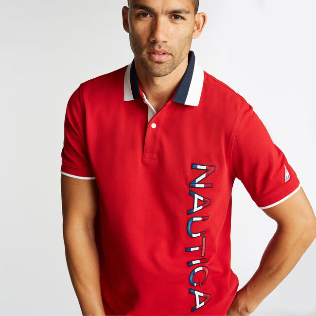 CLASSIC FIT POLO IN COLORBLOCK,Nautica Red,large