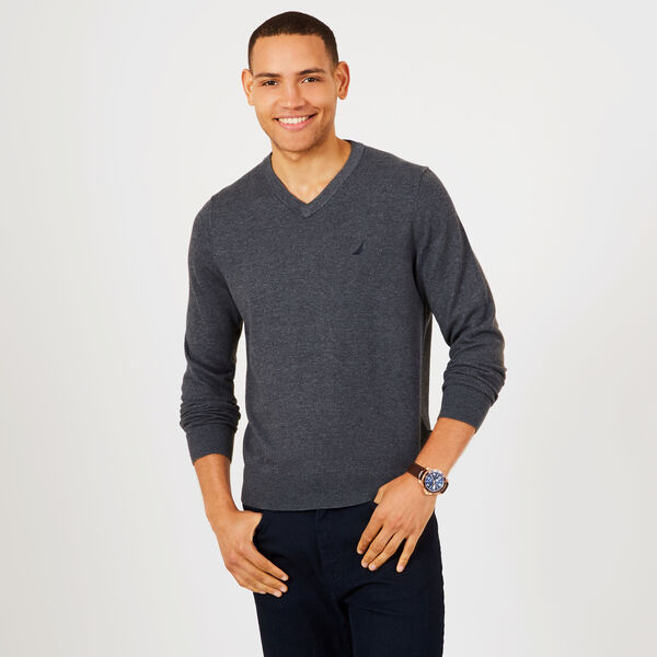 Jersey Navtech V-Neck Sweater - Charcoal Hthr