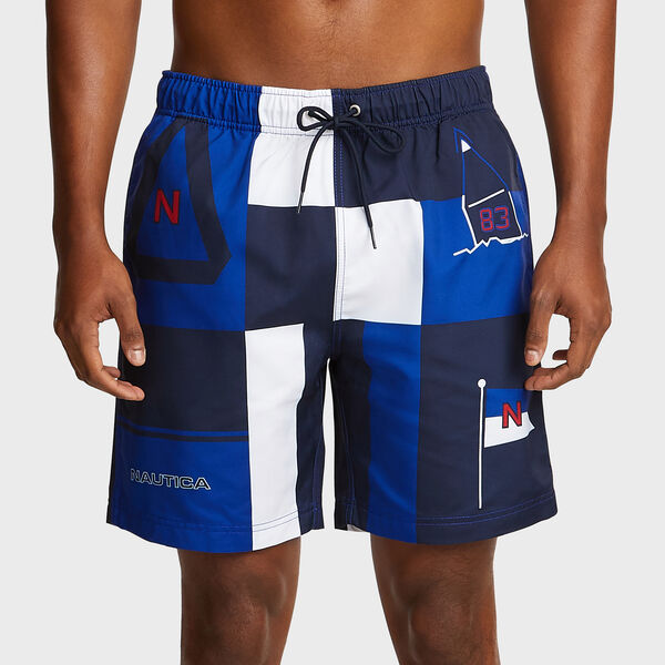 Iconic Colorblock Swim Trunks - Bright Cobalt