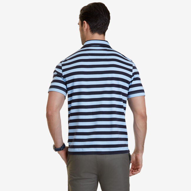 Big & Tall Striped Polo Shirt,Washed Navy Heather,large