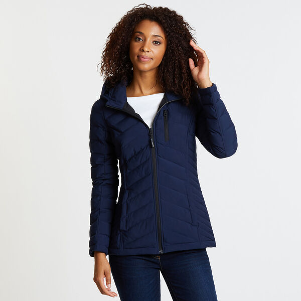 Stretch Jacket with Logo Hood - Stellar Blue Heather