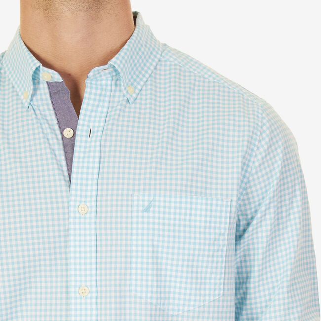 Big & Tall Long Sleeve Gingham Stretch Shirt,Sapphire,large