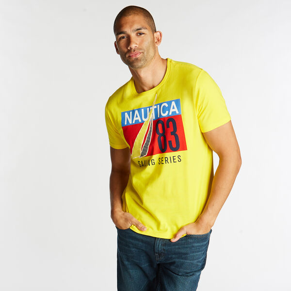 JERSEY T-SHIRT IN SAILING SERIES GRAPHIC - Yellow Zest