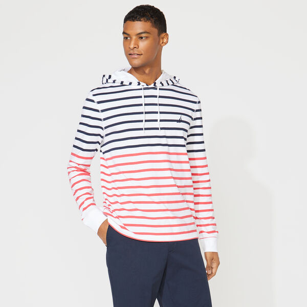 STRIPED T-SHIRT HOODIE - Bright White