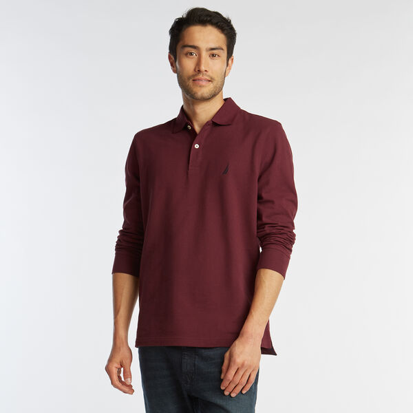 CLASSIC FIT LONG SLEEVE MESH POLO - Royal Burgundy