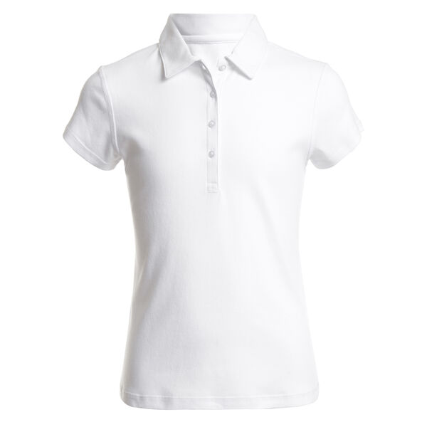 GIRL'S SHORT SLEEVE SUPER SOFT POLO (4 - 6) - White