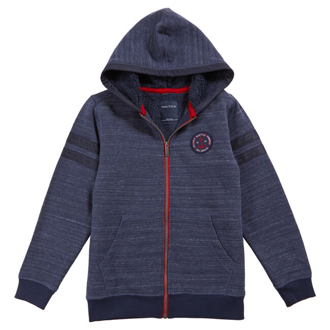 Toddler Boys' Colorblock Sherpa Hoodie (2T-3T),Sport Navy,large