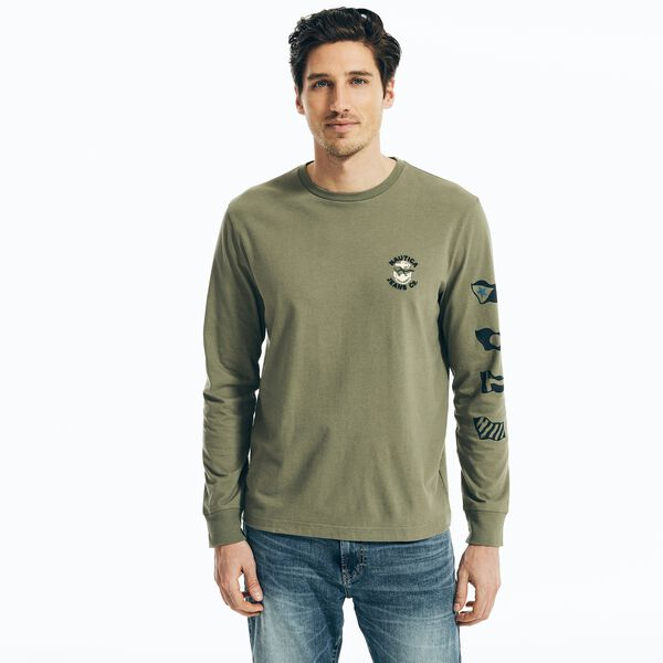 NAUTICA JEANS CO. SUSTAINABLY CRAFTED GRAPHIC LONG SLEEVE T-SHIRT - Hillside Olive