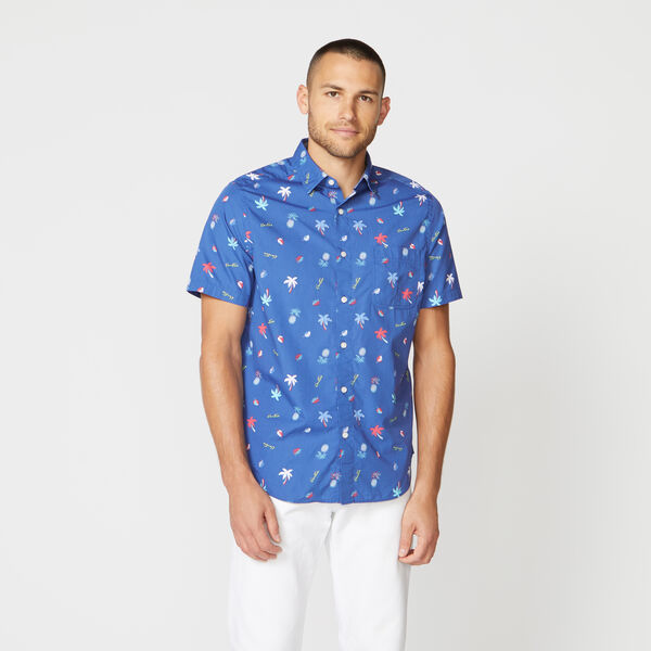 CLASSIC FIT TROPICAL PRINT POPLIN SHIRT - Limoges