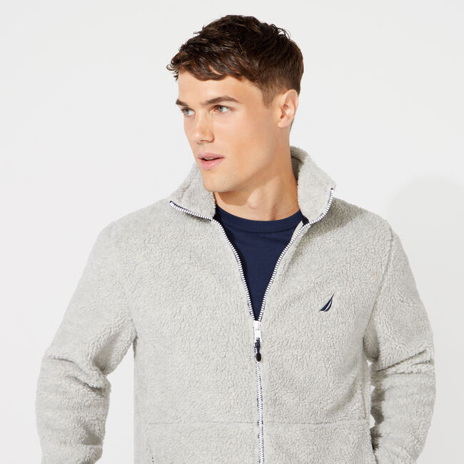 SHERPA MIXED MEDIA FULL ZIP HOODIE,Grey Heather,large