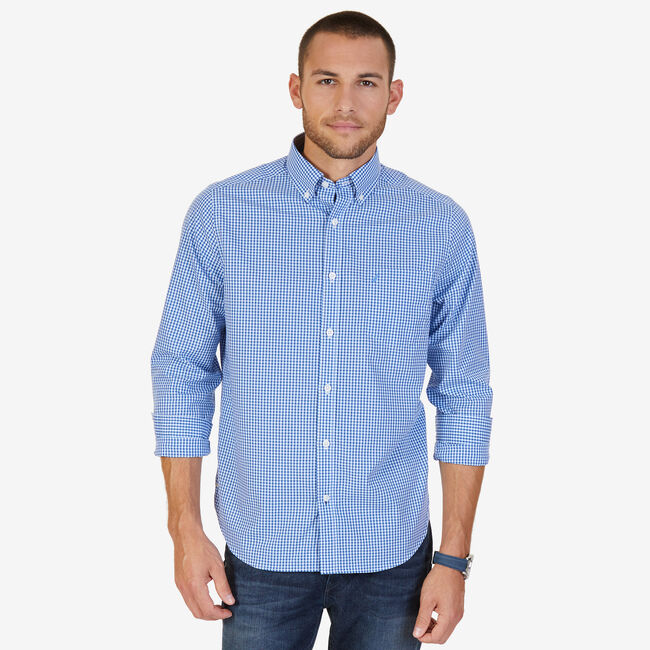 Plaid Classic Fit Long Sleeve Button Down,Deep Sea,large
