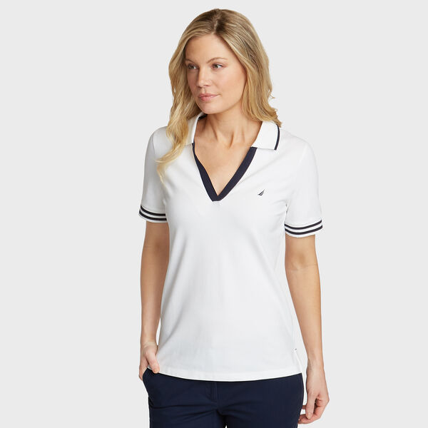 Elbow Sleeve Classic Fit Polo - Bright White