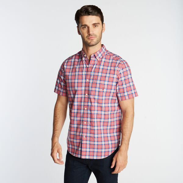 PLAID SHORT SLEEVE OXFORD SHIRT - Coral Cape