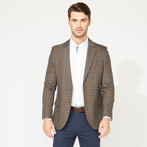 STRETCH PLAID BLAZER IN BROWN - Beachsand