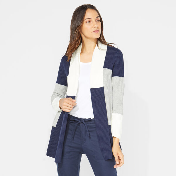NAUTICA JEANS CO. LONG SLEEVE COLORBLOCK CARDIGAN - Fog