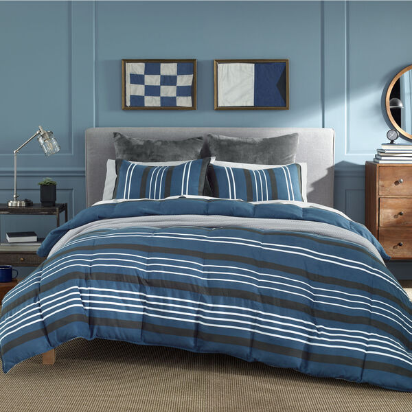 VALMONT COMFORTER & SHAM SET IN NAVY - Pure Dark Pacific Wash