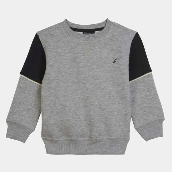 LITTLE BOYS' COLORBLOCK OVERSIZED BACK LOGO SWEATSHIRT (4-7) - Grey Heather