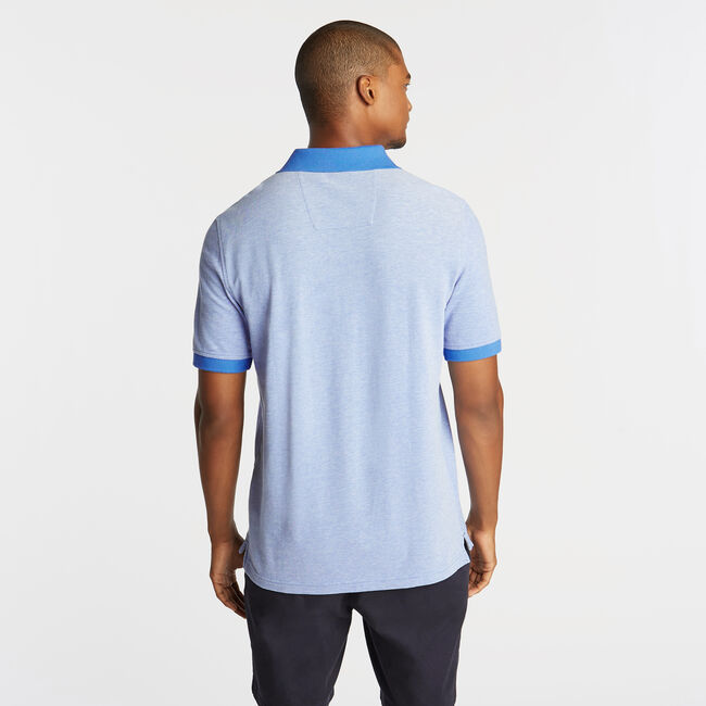 CLASSIC FIT OXFORD MESH POLO WITH CHEST STRIPE,Reef Blue,large