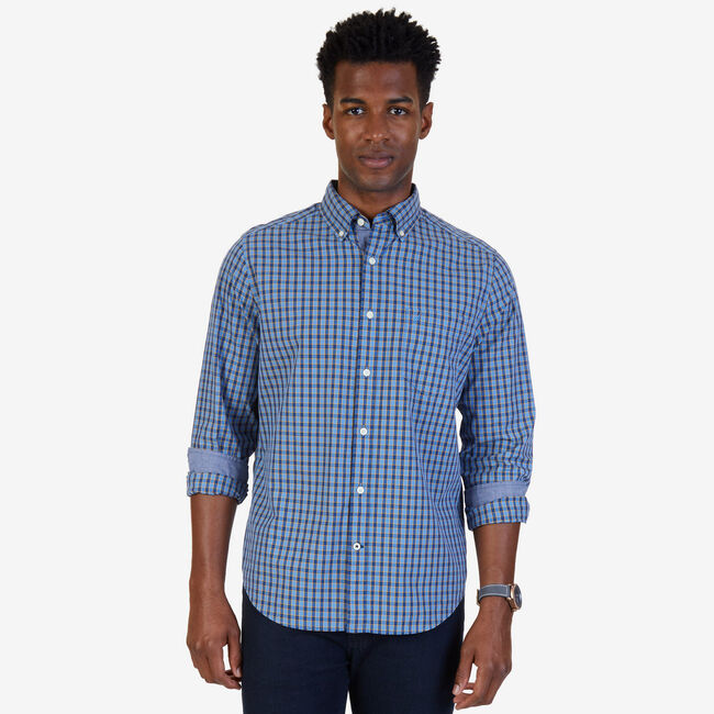 Check Poplin Classic Fit Button Down,Riviera Blue,large